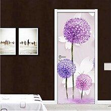 YPXXPY Tür Wandaufkleber 3D Tür Aufkleber Lila