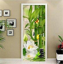 YPXXPY Tür Wandaufkleber 3D Tür Aufkleber Lotus