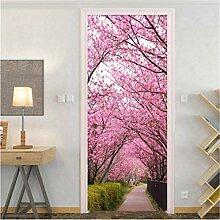 YPXXPY Tür Wandaufkleber 3D Tür Aufkleber Rosa