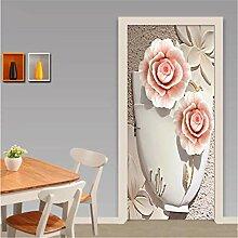 YPXXPY Tür Wandaufkleber 3D Tür Aufkleber Vase