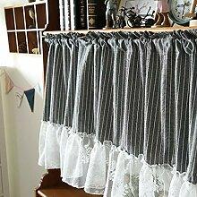 YQCZ Spitze Streifen Halber Vorhang Kurz Baumwolle