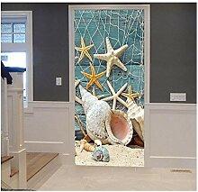 Yqgdss Seestern Muschel 3D Türtapete Tür