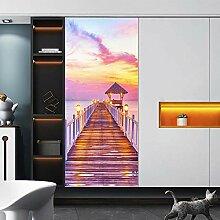 YQLKD 3Dtürposter Sonnenuntergang Holzpavillon