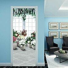 YQLKD Türaufkleber Dekoration Blumenbild