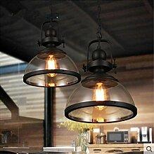 YQQ Vintage industrielle Wind Kronleuchter, Single-Kopf Speisesaal Kronleuchter, Café, bar Glaslampe