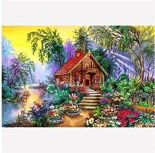 YQQICC 5D DIY Diamantmalerei Haus Landschaft