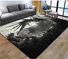 YQZS Home Wohnzimmer Teppich, Grauer Drache