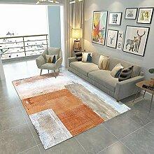 YQZS Home Wohnzimmer Teppich, Orange Stickerei