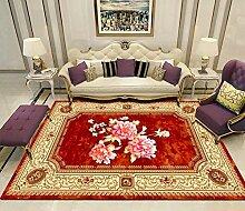 YQZS Wohnzimmer Teppich Kurzflor Teppich Roter