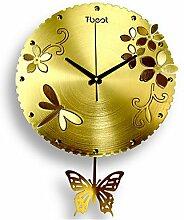 YROAR CLOCKS Blume Wanduhr, Gelb