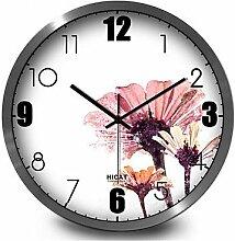 YROAR CLOCKS Einfache und elegante lila Tinte Heimtextilien dekoratives Mute Quarz Wanduhr, 30 cm, Silber