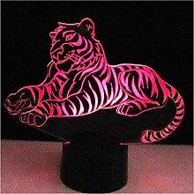 YS753 Led-nachtlichter Tiger Mit 7 Farben Licht