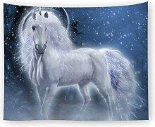 Ysayc Cartoon Weißes Pferd Tapisserie 3D-Druck