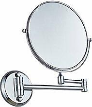 Ysayc Kosmetikspiegel doppelseitige 3x Vergrößerung Wand Hängen 360 ° Swivel Bath Spa Hotel runde bad Wandspiegel, Silver
