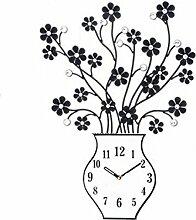 Ysayc Wanduhr Creative Eisen Vase Mode Wanduhr Wohnzimmer Schlafzimmer Modern Mute Wanduhr