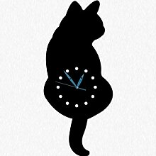 Ysayc Wanduhr Katzen und Hunde Wanduhr Cat Wagging Tail Swinging Clock Hundeschwinge Tail Wanduhr . 18 inches . 261c