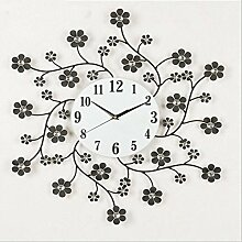 Ysayc Wanduhr Kreative Metalldiamanten Blütenblatt Wanduhr Europäischen Stil Wohnzimmer Schlafzimmer Wanduhr