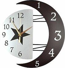 Ysayc Wanduhr Modern DecoRation Sonne und Mond Wanduhr Stumm Die Wohnzimmeruhr Persönliche Uhr Einfache Schlafzimmer mit dem Tisch verbunden . 16 inches . rome dial