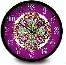 Ysayc Wanduhr Purple Persönlichkeit Kreative Totem Mode Wanduhr National Folk Wind Schlafzimmer Wohnzimmer Wanduhr , 12 inches , black