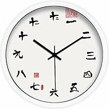 Ysayc Wanduhr Tuch Chinese Seal Kreative Wanduhr Modern Minimalist Wohnzimmer Schlafzimmer Mute Wanduhr , 14 inches , metal white box