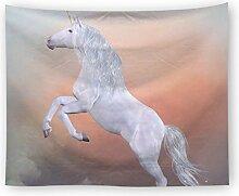 Ysayc Weißes Pferd Tapisserie Einhorn Tier Trippy