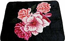YSN Home Collection 2266 - Wolldecke Decke Kuscheldecke Tagesdecke Blumen - Schwarz lila pink Single 160 x 200 cm superweich Romantisches GESCHENK
