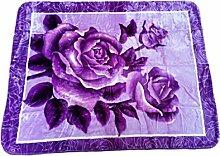 YSN Home Collection 361-3 - Wolldecke Decke Kuscheldecke Tagesdecke - Rosen Blumen Blumenmotiv romantisches Geschenk Liebe Lila XXL 2 Personen Double (205x230 cm)