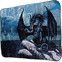 """YSN Home Collection 671 - Single Wolldecke Decke Kuscheldecke """"Drache Schwarz Dragon"""" - 160x200 cm OSTERN Geburtstag GESCHENK"""