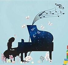 Ysurehom Blue Star Piano Girl Wall Sticker