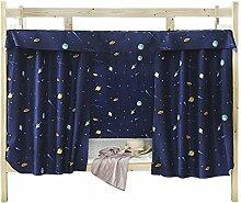 YSXY Bettvorhang Vorhang Hochbett Schlafzelt Spielzelt Kinderbett Bett Etagenbett Studentenwohnheim Kinderzimmer,1.2x2M (3pcs) Planet Muster,Dunkelblau