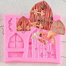 YTBUBOR 3D Cartoonhouse Holztüren Und Fenster