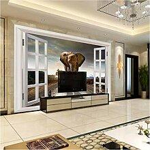 Ytdzsw 3D Fenster Elefant Fototapete Wandbild Für