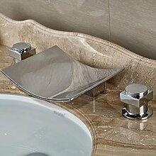 Ytdzsw Chrom Deck 3 Löcher Wasserfall Auswurfkrümmer Waschbecken Wasserhahn Dual Griff Bad Badewanne Mischbatterie Wasserhahn Montieren
