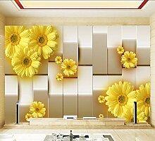 Ytdzsw Gelbe Chrysantheme Blume 3D Wandbild Tapete
