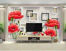 Ytdzsw Tapete Für Wände 3 D Mode Rote Blumen