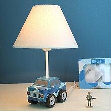 YU-K Die kleine Schreibtischlampe Schlafzimmer Nachttischlampe warmen kreative Männer Zimmer cartoon Dimmen warmes Licht Geschenk 37*23 cm blau Auto