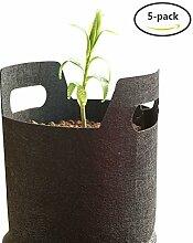 Yuccer Pflanztasche, pflanze wachsende tasche mit Griffe für draussen Blumen Kartoffeln Tomaten und Erdbeeren 5 Packung Schwarz (A, 2 Gallone)
