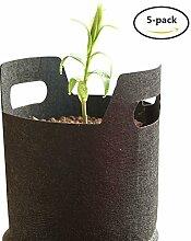 Yuccer Pflanztasche, pflanze wachsende tasche mit Griffe für draussen Blumen Kartoffeln Tomaten und Erdbeeren 5 Packung Schwarz (A, 3 Gallone)