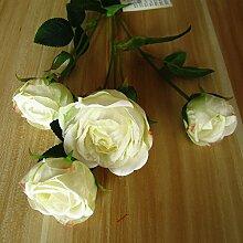 YUCH Künstliche Blumen Hochzeit Dekoration Rosen, Weiß