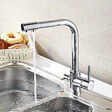 YUCH Kupfer Dual-Armatur Spüle Wasserhahn warme und kalte Küche Wasserfilter rotierenden Wasser