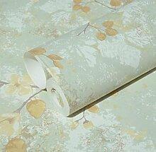 YUELA Retro Schlafzimmer Wohnzimmer, Amerikanische land Blume und Vogel Vliesstoff Garten wallpaper antiken Wohnzimmer Sofa TV Hintergrund Wand blaue Tapete, 18