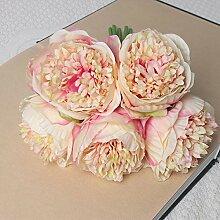 yueyue947 Kunstseide rosa Pfingstrose Blumen,