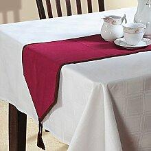 Yuga 100% Baumwoll-Tischläufer mit Quaste Plain Tischläufer Wohnkultur Tischdekoration 12 X 45 Zoll