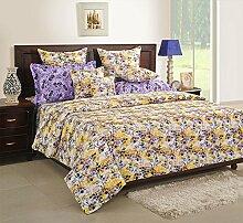 Yuga 100% Baumwolle Beige Blumen King Bettlaken Mit 2 Stück Kissen Bezug Feinste Qualität Bettlaken 108 x 108 Zoll