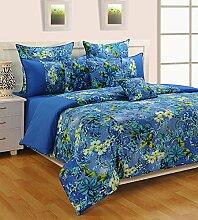 Yuga 100% Baumwolle Blaue Blumen King Bettlaken Mit 2 Stück Kissen Bezug Feinste Qualität Bettlaken 108 x 108 Zoll