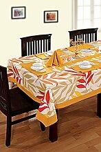 Yuga 100% Cotton Tischdecke für 8 Chair Standard Table Gedruckt Tischdecke Tischwäsche 60 X 108