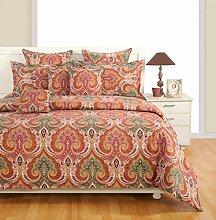 Yuga 2 Stück Set dekorative Größe Mehrfarbendoppel bedruckten Baumwollbettlaken mit Kissenbezug