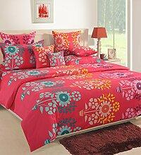 Yuga 3 Stück mit Kissenbezüge Baumwollbettlaken rosa Queen-Size-Reihe von dekorativen