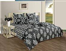 Yuga 3 teiliges Set von dekorativen grauen Queen-Size-Baumwolle Bettlaken mit Kissenbezüge