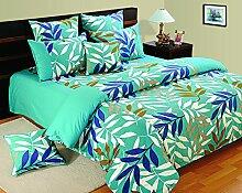 Yuga bedruckter Baumwolle Spannbetttücher Gummizug blauen Bettlaken mit 2 Kopfkissenbezug 72 X 75 X 10 Zoll